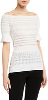Emporio Armani Pointelle Off-the-Shoulder Knit Sweater