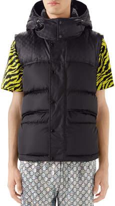 Gucci Men's Interlocking-GG Hooded Puffer Vest