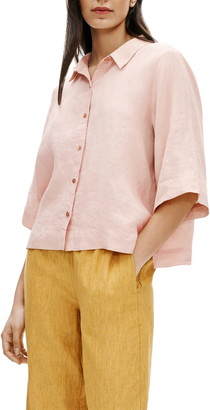 Eileen Fisher Boxy Organic Linen Button-Up Shirt