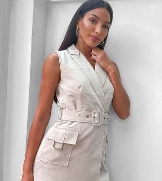 4th + Reckless Tall belted sleeveless jacket in stone