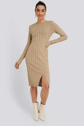 NA-KD Ribbed Knitted Slit Dress