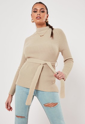 Missguided Stone Rib High Neck Belted Jumper