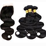 Xuchang Eecamail Brazilian Body Wave Virgin Hair 4 Bundles with 1pc Lace Closure Unprocessed Brazilian Virgin Hair Weave with Closure 4x4 Lace Top Closure(24 26 28 28+22 inch)