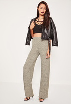 Missguided Gold Marl Vertical Ribbed Wide Leg Trousers
