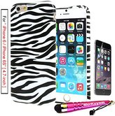 MerKuyom® Package-Fit [iPhone 6S / iPhone 6], (4.7-inch) iPhone 6/6S Case Protector,[White Black Zebra Stripe] [Slim-Fit] [Flexible Gel] Soft TPU Case Cover For Apple iPhone 6 6S (4.7-inch),+ Stylus
