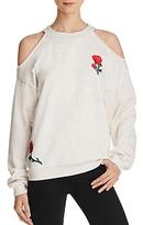 Honey Punch Embroidered Cold Shoulder Sweatshirt