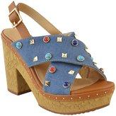 Fashion Thirsty Womens Block Heel Summer Denim Gem Sandals Size 8
