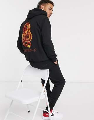 Criminal Damage dragon embroidered hoodie in black
