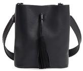 Street Level Faux Leather Tassel Bucket Crossbody Bag - Black