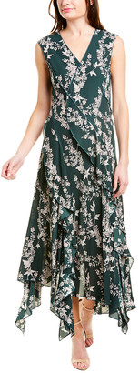 BCBGMAXAZRIA Mixed-Print Midi Dress