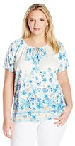 Fresh Women's Plus-Size S/Allover Print Keyhole Scoop Neck with CF Ties