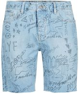 Topman Scribble Raw Edge Denim Shorts