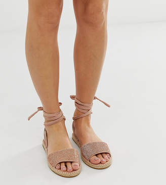 Jamila Asos Design ASOS DESIGN Wide Fit rhinestone tie leg espadrille sandals in rose gold