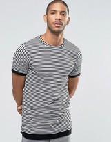 Asos Longline Muscle T-Shirt In Stripe Rib