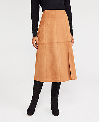 Ann Taylor Faux Suede Seamed Skirt