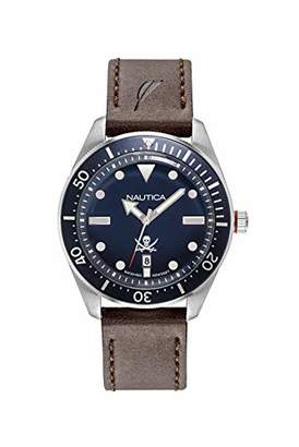Nautica Men's Hillcrest Stainless Steel Japanese-Quartz Watch with Leather Strap