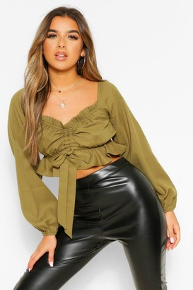 boohoo Petite Ruched Front Long Sleeve Top