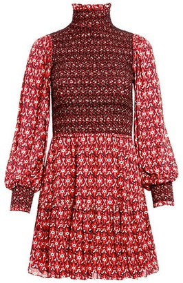 Alice + Olivia Elvira Smocked Mini Dress