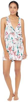 La Blanca Flyaway Orchid Surplice Romper Dress Swimsuit Cover-Up (White) Women's Swimwear