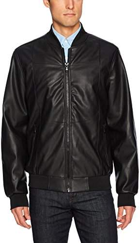 8f1be008b by David Bitton Men's Faux Leather Bomber Jacket