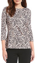 Preston & York Patricia Printed Knit Blouse