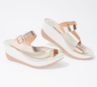 Fantasy Sandals Leather Buckle Slide Sandals- Felisa