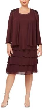 SL Fashions Plus Size Tiered Dress and Embellished-Shoulder Jacket