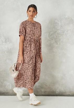 Missguided Rust Animal Print Puff Sleeve Midi Smock Dress
