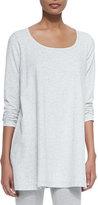 Joan Vass Scoop-Neck Long-Sleeve Tunic, Plus Size