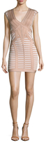 Herve Leger V Neck Striped Sheath Dress
