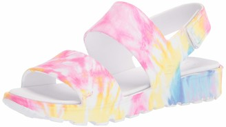 Skechers Women's Footsteps-Tie Dye Print Molded Double Strap Slingback Sandals with Luxe Foam