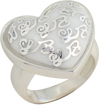 Louise Zoé Louise Zoe Ring with Heart Design Sterling Silver-Plated Brass - 5LZ0275 WH Silver