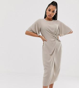 Asos DESIGN Petite twist front midi dress with angel sleeve