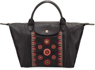 Longchamp Le Pliage Cuir Small Embroidered Leather Top-Handle Bag