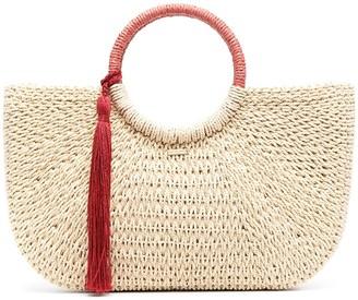 Melissa Odabash Large Woven Tassel Tote Bag