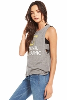 Chaser LA National Geographic Side Strap Tank in Streaky Grey