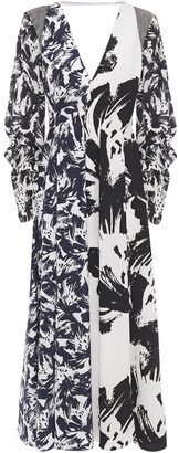 Roland Mouret Paneled Printed Georgette, Taffeta And Hammered Crepe Midi Dress