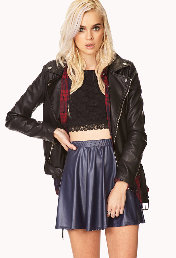 Forever 21 Faux Leather A-Line Skirt