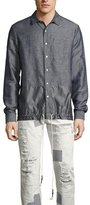 Mostly Heard Rarely Seen Chambray Oxford Shirt with Drawstring Tech Panel, Blue