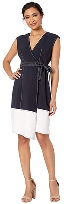 Maggy London Novelty Crepe Cap Sleeve Fit and Flare (Dark Navy/Soft White) Women's Dress