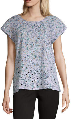 Liz Claiborne Spring Bouquet Womens Round Neck Short Sleeve Blouse