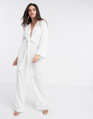 Pretty Lavish plunge tie waist sequin jumpsuit in white