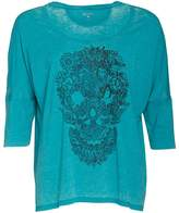 Converse Womens Greed 1/2 Sleeve Skull Graphic T-Shirt Viridian Green