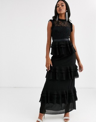 Forever U high neck tiered maxi dress with lace yolk in black