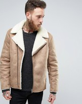 Asos Faux Shearling Biker Jacket In Camel