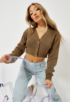 Missguided Camel Basic Cropped Knit Cardigan