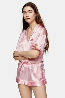 Topshop Pink Tie Satin Shirt and Shorts Pyjama Set