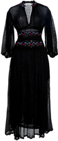 Sonia Rykiel Voile V Neck Embroidered Dress