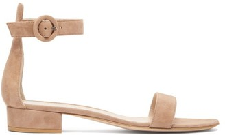 Gianvito Rossi Portofino 20 Block-heel Suede Sandals - Womens - Nude