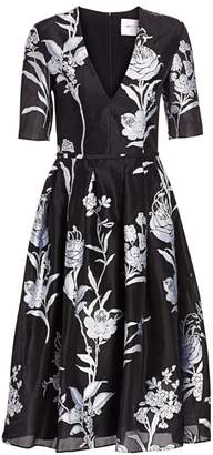 Carolina Herrera Floral V-Neck Midi Dress